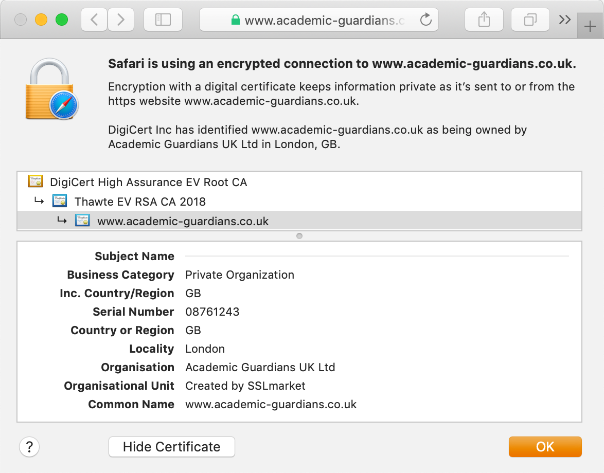 View the GeoTrust Thawte Web Server EV certificate in the browser's address bar