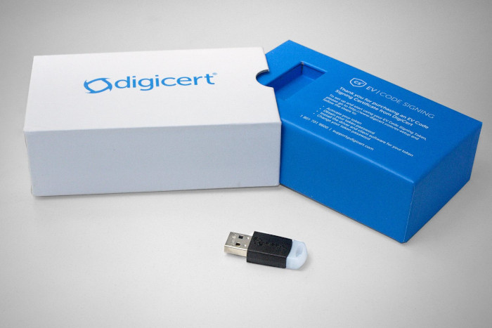 HW token with the certificate you will receive with DigiCert Code Signing EV